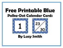 Free Printable Pocket Chart Cards Free Printable Blue Polka Dot Calendar Cards