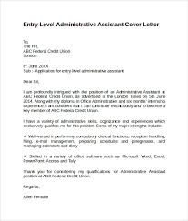 Cover Letter Entry Level Administrative Assistant Office