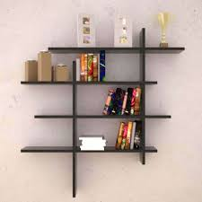 Best Bookshelf Interior Grey Modern Stained Solid Wood Cubed Wall Bookcase