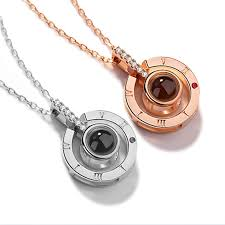 rose gold silver 100 ages i love you projection pendant necklace romantic love memory wedding necklace