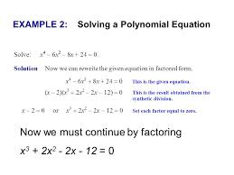 example 2 solving a polynomial equation