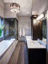 Bathrooms  Stunning Bathroom With Small Bathtub Also Modern - Modern bathroom chandeliers