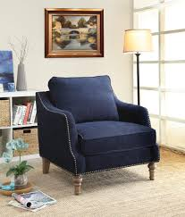 Blue And Brown Accent Chair Furniture Blue Upholstered Chair With Back Rest And Nails Accent