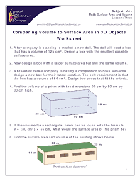 Comparing Volume to Surface Area in 3D Objects Worksheet Worksheet ...