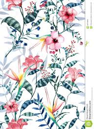 Watercolor Tropical Floral Pattern ...