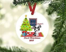 Christmas Ornaments Border Amazon Com Qmsing Border Collie Ornament Personalized