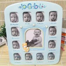 month baby frame 2 inch growth record blue photo gifts for newborn babies picture frames 12 baby month frame