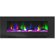 wall mount electric fireplace in black with multi color flames and driftwood log display