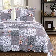 piece gray patchwork quilt king size