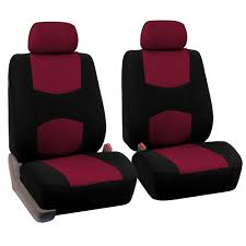 fh group universal flat cloth fabric 5 headrests full set car seat cover burdy and black com