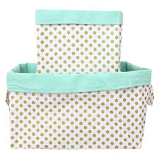 Small Gold Dot Fabric Storage Caddy  Mint & Gold Polka Dot Fabric Bins for  the Nursery ...
