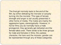 horror movie essay englishessayhorrormoviedocx gcb horror movies  the representations of gender in horror films essay lt br gt