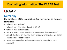 Craap Test Evaluating Information The Craap Test