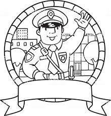 Poliziotto Divertenti Libro Da Colorare O Emblema Immagini