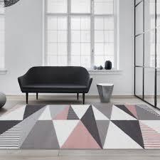 trendy blush pink grey rugs pointed geometric diamonds soft easy living rug