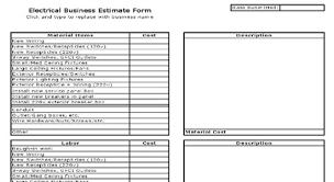 Estimating Job Electrical Estimate Sheet Free Electrical Estimate