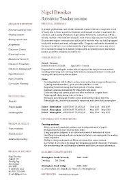 Substitute Teacher Resume Substitute Job Description For Resume