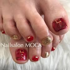 赤ゴールドフットネイル Nail Salon Moca伊勢市ネイルサロン