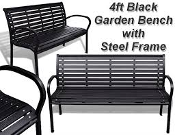 4ft park bench with steel frame
