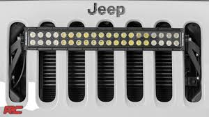 Jeep Grill With Light Bar 2007 2017 Jeep Wrangler Jk 20 Inch Led Light Bar Grille Mount By Rough Country