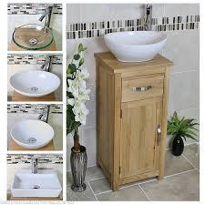 cloakroom bathroom vanity unit oak cabinet small modern inc ceramic basin 300