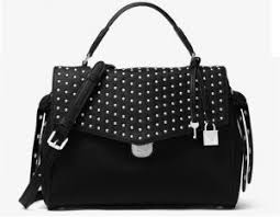 MICHAEL MICHAEL KORS Bristol Medium Studded Leather Satchel - BLACK