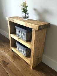 decoration rustic lamp end side table chunky hand made solid oak finished pine country free