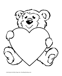 Valentines Day Hearts Coloring Pages Teddy Bear With A Big