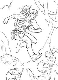 Small Picture Yoda riding on Luke Skywalkers back coloring page Free