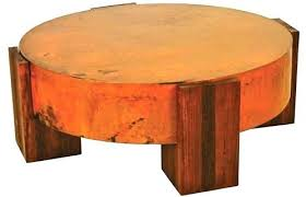 reclaimed round coffee table copper for toronto glass top