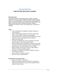 Janitor And Building Cleaner Job Description Template Word Pdf