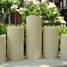 flameless indoor outdoor resin candle set of 5 with timer