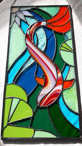 koi carp stained glass window wall hanging panel