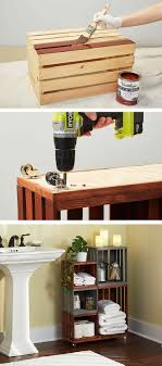 cool college bathroom ideas. diy bathroom storage shelves made from wooden crates cool college ideas