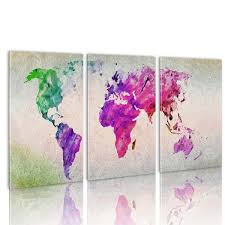 World Map Home Decor 3pc Large Colorful World Map Hd Canvas Wall Art Paintings Print