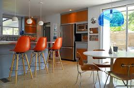modern furniture and lighting. View In Gallery Beautiful Midcentury Kitchen With Natural Textures And Bold Color Modern Furniture Lighting H