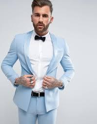 Light Blue Tuxedo Prom Super Skinny Tuxedo Prom Suit Jacket With Satin Lapel In Sky Blue