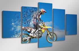 on dirt bike wall art with motocross mx dirt bike 5 piece canvas wall art hanging