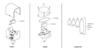 mcdonnell miller 120611 model fs251 snap liquid flow switch mcdonnell miller model fs251 fs254 exploded view parts diagram