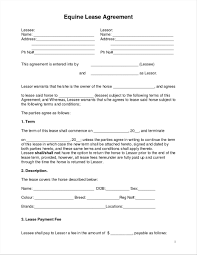 Horse Lease Agreements Sample Pet Sitting Contract Form Template Business Horseing 1