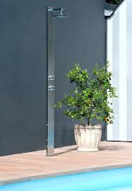 stainless steel outdoor showers stainless steel outdoor shower with laminate flooring and pool and trees