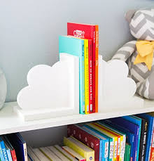cloud bookends for kids room baby nursery decor bedroom book end clouds for shelves decorations for room or nursery