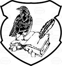 black and white raven on top of open book with feather quill pen coat of arms