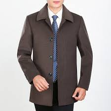 winter thick wool single ted turn down collar business casual trench coat for men