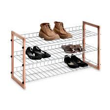 Shoe Rack 3 Shelf Wooden Metal Shoe Rack Bed Bath Beyond