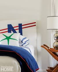 the designer worked with a sailmaker to create mainsails for headboards in the children s room cape cod cottage bedroom cape