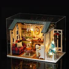 puzzle model building kits simulation room diy doll house wooden miniature dollhouse kids toy house girlfriend birthday gift in model building kits from