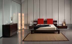 contemporary bedroom men. Red-headboard-and-small-bedside-table-also-modern- Contemporary Bedroom Men I
