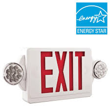 Lithonia Lighting Exit Signs Lithonia Lighting 2 Light Plastic Led White Exit Sign Emergency Combo With Led Heads And Red Stencil