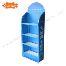 supermarket 4 layers portable laundry detergent metal standing display stand with shelves